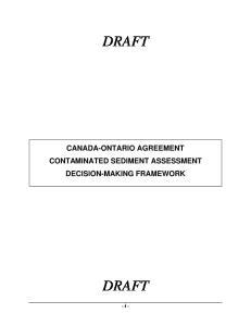 CANADA-ONTARIO AGREEMENT CONTAMINATED SEDIMENT ASSESSMENT
