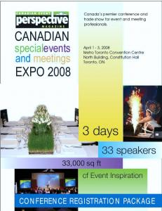 Canada s premier conference and trade show for event and meeting professionals. CONFERENCE REGISTRATION PACKAGE