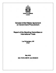 Canada-United States Agreement on Government Procurement. Report of the Standing Committee on International Trade