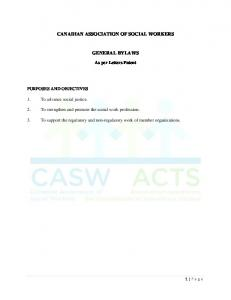 CANADIAN ASSOCIATION OF SOCIAL WORKERS GENERAL BYLAWS