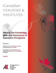 Canadian COLLEGES & INSTITUTES. May The Association of Canadian Community Colleges