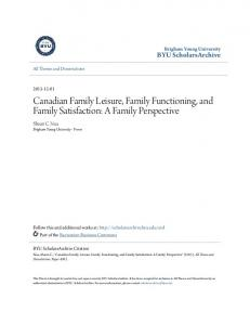 Canadian Family Leisure, Family Functioning, and Family Satisfaction: A Family Perspective