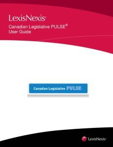 Canadian Legislative PULSE User Guide