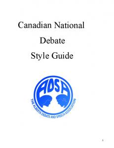 Canadian National Debate Style Guide