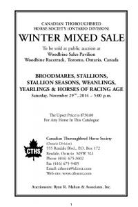 CANADIAN THOROUGHBRED HORSE SOCIETY (ONTARIO DIVISION) WINTER MIXED SALE