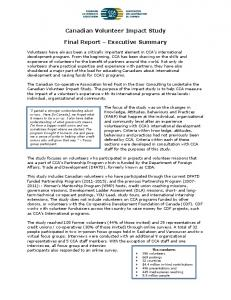 Canadian Volunteer Impact Study. Final Report Executive Summary