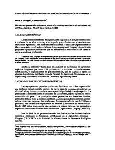 CANALES DE COMERCIALIZACION DE LA PRODUCCION ORGANICA EN EL URUGUAY
