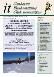 Canberra Bushwalking Club newsletter
