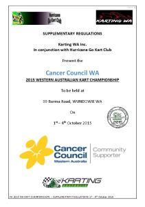 Cancer Council WA 2015 WESTERN AUSTRALIAN KART CHAMPIONSHIP