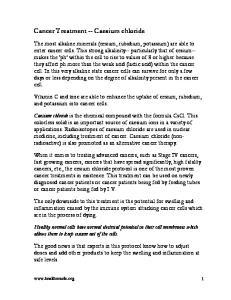 Cancer Treatment -- Caesium chloride