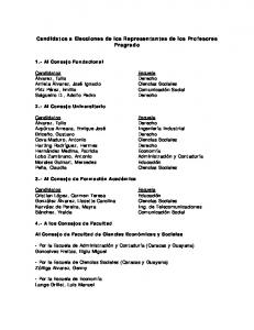 Candidatos a Elecciones de los Representantes de los Profesores Pregrado
