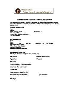 CANINE BEHAVIOR CONSULTATION QUESTIONNAIRE