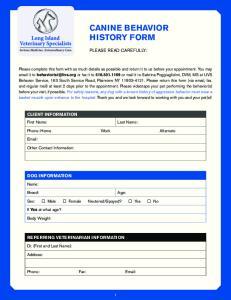 CANINE BEHAVIOR HISTORY FORM