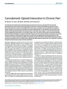 Cannabinoid Opioid Interaction in Chronic Pain