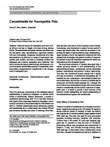 Cannabinoids for Neuropathic Pain