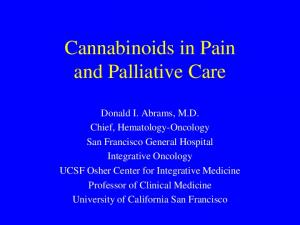 Cannabinoids in Pain and Palliative Care
