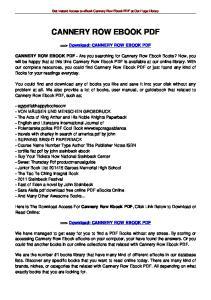 CANNERY ROW EBOOK PDF