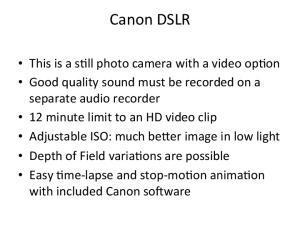 Canon DSLR Recording Times