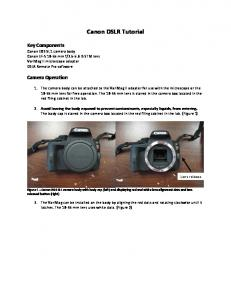 Canon DSLR Tutorial. Camera Operation