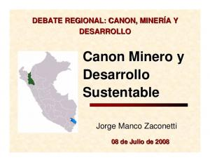 Canon Minero y Desarrollo Sustentable