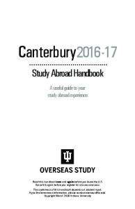 Canterbury Study Abroad Handbook. A useful guide to your study abroad experience