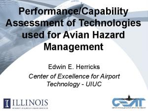 Capability Assessment of Technologies used for Avian Hazard Management