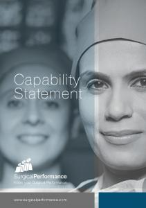 Capability Statement. Know your Surgical Performance