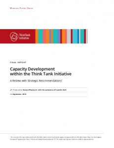 Capacity Development within the Think Tank Initiative