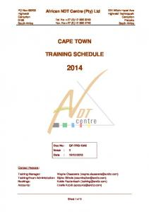 CAPE TOWN TRAINING SCHEDULE