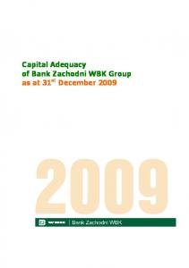Capital Adequacy of Bank Zachodni WBK Group as at 31 st December 2009