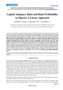 Capital Adequacy Ratio and Bank Profitability in Nigeria: A Linear Approach