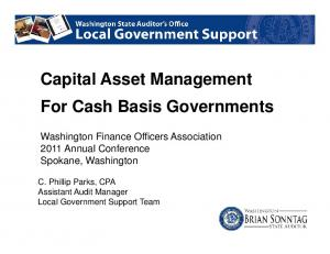 Capital Asset Management For Cash Basis Governments