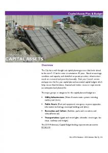 CAPITAL ASSETS. Capital Assets Plan & Budget. Overview