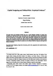 Capital Budgeting and Political Risk: Empirical Evidence