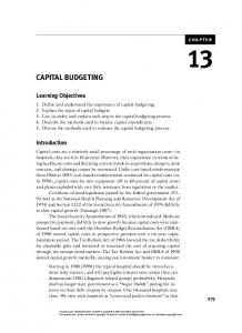 CAPITAL BUDGETING. Learning Objectives. Introduction. chapter