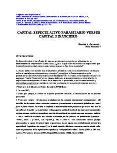 CAPITAL ESPECULATIVO PARASITARIO VERSUS CAPITAL FINANCIERO