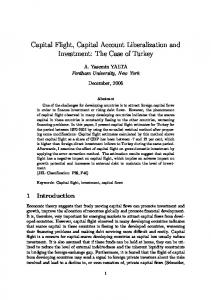 Capital Flight, Capital Account Liberalization and Investment: The Case of Turkey