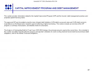 CAPITAL IMPROVEMENT PROGRAM AND DEBT MANAGEMENT