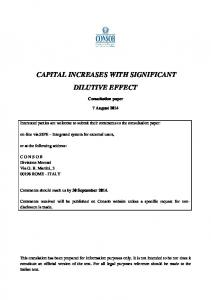 CAPITAL INCREASES WITH SIGNIFICANT DILUTIVE EFFECT