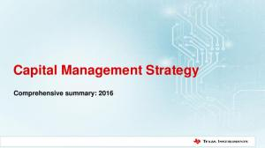 Capital Management Strategy. Comprehensive summary: 2016