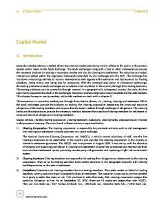 Capital Market. A. Introduction ISMR. Capital Market