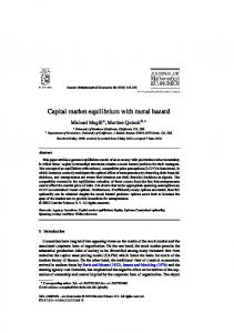 Capital market equilibrium with moral hazard