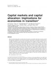 Capital markets and capital allocation: Implications for economies in transition*