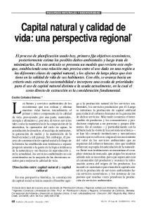 Capital natural y calidad de vida: una perspectiva regional *