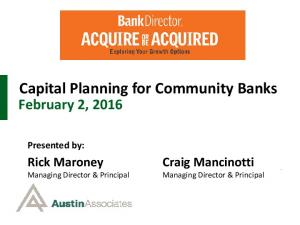 Capital Planning for Community Banks