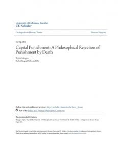 Capital Punishment: A Philosophical Rejection of Punishment by Death