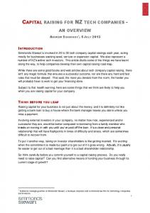 CAPITAL RAISING FOR NZ TECH COMPANIES -