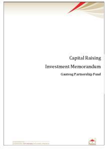 Capital Raising Investment Memorandum