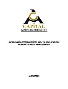 CAPITAL RAISING OPPORTUNITIES FOR SMEs: THE DEVELOPMENT OF MICRO-CAP SECURITIES MARKETS IN KENYA