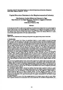 Capital Structure Decisions in the Biopharmaceutical Industry